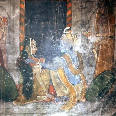 Krishna Sitting with the Gopis (Daughters of the Cowherds)--Giclee Print
