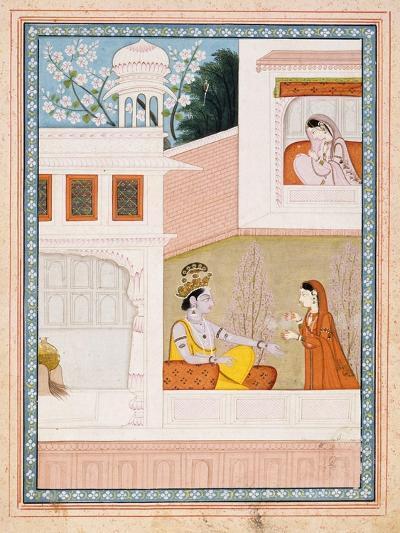 Krishna Talks to Radha's Maidservant--Art Print