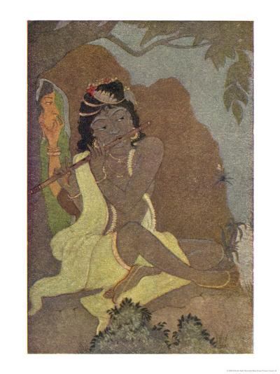 Krishna, The 8th Avatar of Vishnu with Radha, One of the Gopis-Khitindra Nath Mazumdar-Giclee Print
