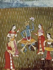 Krishna with a Lotus Flower and His Wife Radha Dancing in the Rain