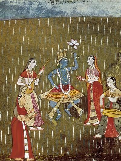 Krishna with a Lotus Flower and His Wife Radha Dancing in the Rain--Art Print