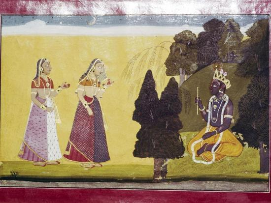 Krishna with flute, approached by two ladies-Unknown-Giclee Print