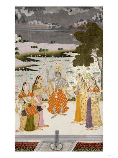 Krishna with the Gopis, Rajesthan, Possibly Bikaner, circa 1760--Giclee Print
