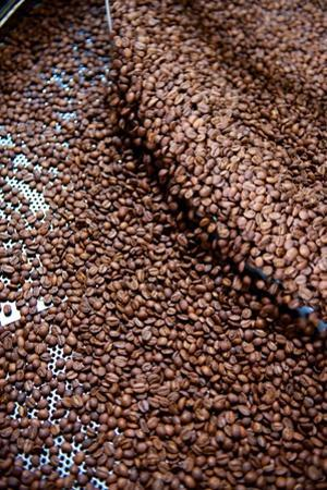 Coffee Beans Spin in a Roasting Machine at a Coffee Company in the Soma District by Krista Rossow
