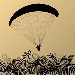 Paragliding Active Sport Landscape Concept for Poster by Kristaps Eberlins