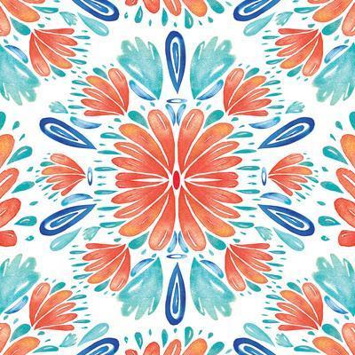 Coral Blue Floral