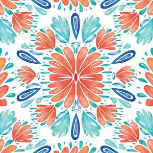 Coral Blue Floral by Kristine Lombardi