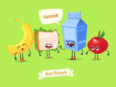 Set of Lunch Characters. Vector Cute Cartoons by Krolone