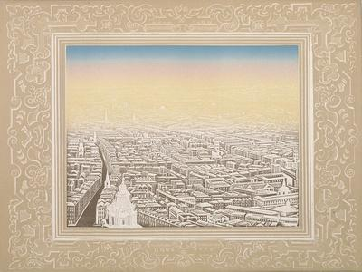 Aerial View of London Framed in a Decorative Border, C1845