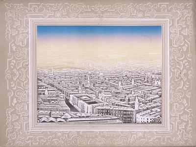 Aerial View of London with Decorative Border, C1845
