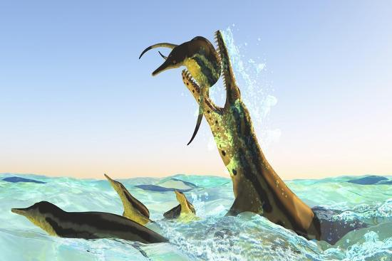 Kronosaurus, Attacks a Pod of Dolichorhynchops in Cretaceous Seas--Art Print