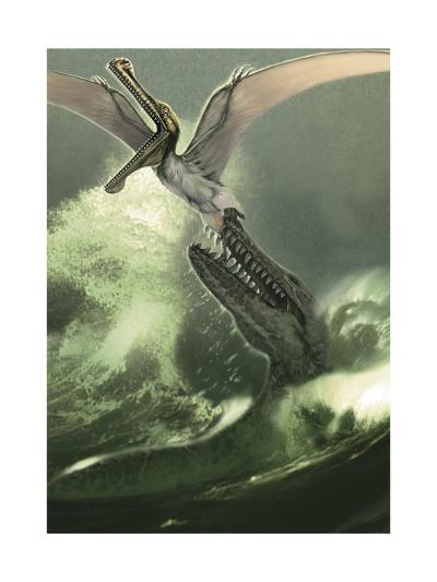 Kronosaurus Jumping Out of the Water to Attack a Low Flying Criorhynchus-Stocktrek Images-Art Print