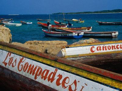 Boats on Waterfront of Chichiriviche with Islands in Background, Falcon, Venezuela
