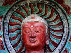 Buddha Statue in Cave No 5, Haystack Mountain Grottoes, Maiji Shan, Gansu, China by Krzysztof Dydynski