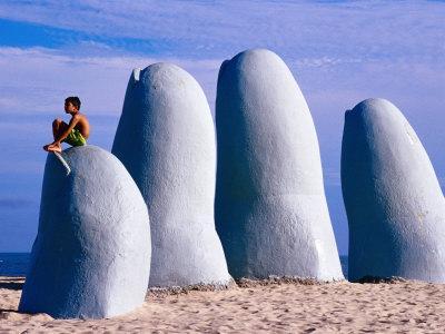 El Mano Beach Sculpture on Playa Brava, Punta del Este, Maldonado, Uruguay