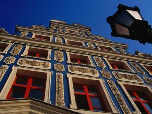 Facade of Reconstructed House on Old Town Square, Szczecin, Zachodniopomorskie, Poland by Krzysztof Dydynski