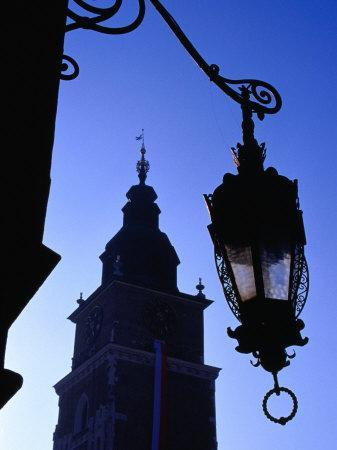 Lamp Post with Town Hall Tower (Wieza Ratuszowa) in Background, Krakow, Poland