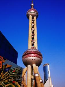 Oriental Pearl Tower (468M High) and Other Pudong Buildings, Shanghai, China by Krzysztof Dydynski