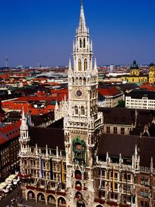 Overhead of Neo-Gothic Neues Rathaus (New Town Hall), Munich, Germany by Krzysztof Dydynski