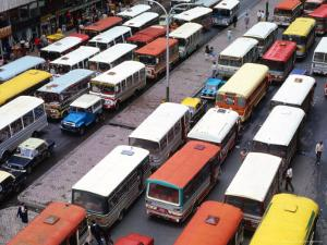 Overhead View of Peak Hour Traffic, Bogota, Colombia by Krzysztof Dydynski