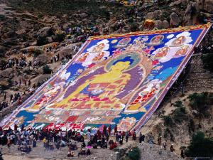 Pilgrims Attending Annual Celebration of Hanging of Huge Thangka, Drepung Monastery by Krzysztof Dydynski