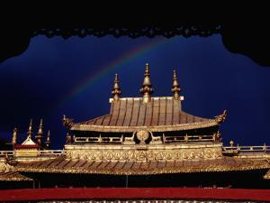 Roof of Jokhang Temple Framed by Lacework, Tibetan Old Quarter by Krzysztof Dydynski