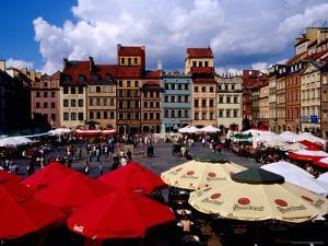 Summertime Open-Air, Outdoor Cafes on Old Market Square, Warsaw, Mazowieckie, Poland by Krzysztof Dydynski