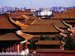 Tiled Roofs of Forbidden City from Jingshan Park, Beijing, China by Krzysztof Dydynski