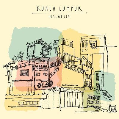 Kuala Lumpur, Malaysia. Casual View of Buildings in China Town. Travel Postcard Template with Kuala-babayuka-Art Print
