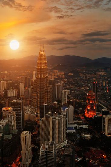 Kuala Lumpur Sunset Scene with Petronas Towers-Vitaly Titov-Photographic Print