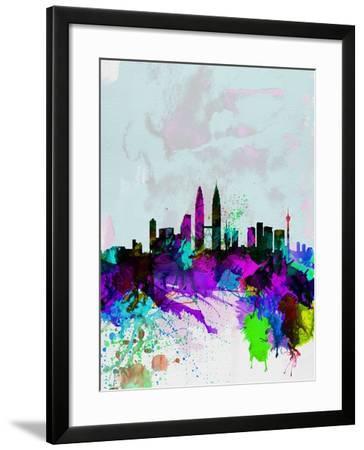Kuala Lumpur Watercolor Skyline-NaxArt-Framed Art Print
