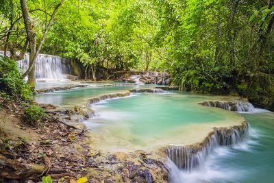 Kuang Si Falls (Tat Kuang Si) Waterfall, Louangphabang Province, Laos, Indochina, Southeast Asia-Jason Langley-Photographic Print