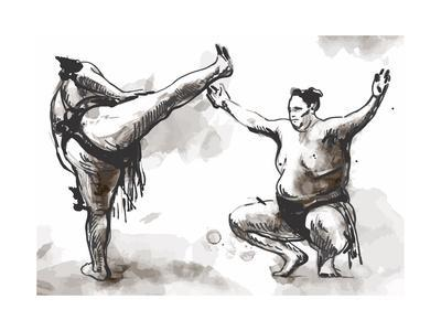 An Hand Drawn (Converted) Vector from Series Martial Arts: Sumo. Sumo is a Competitive Full-Contact