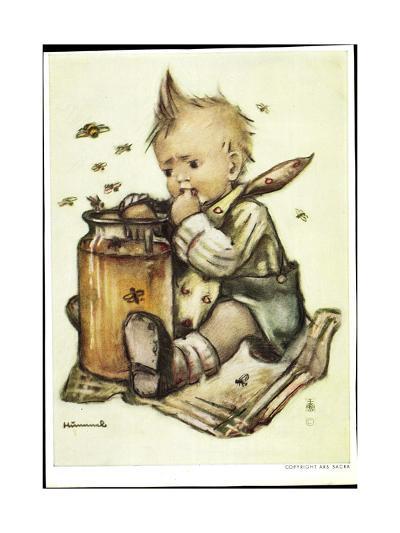 Künstler B. Hummel, Baby Isst Honig, Bienen Fliegen Herum--Giclee Print