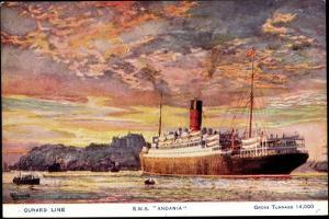 Künstler Cunard Line, R.M.S Andania, Dampfschiff