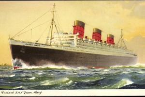 Künstler Cunard Line, R.M.S. Queen Mary, Huge Steamer