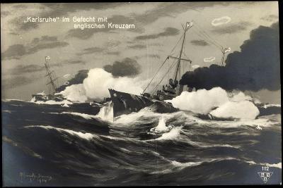 Künstler Deutsches Kriegsschiff Karlsruhe, Gefecht--Giclee Print