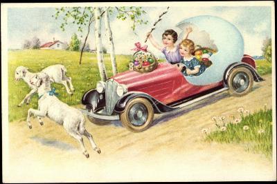 Künstler Frohe Ostern, Lämmer, Auto, Osterei, Amag--Giclee Print