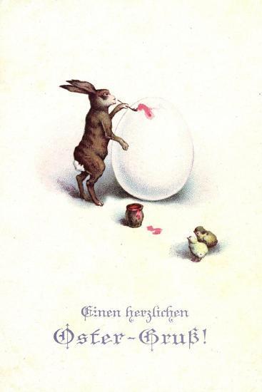 Künstler Frohe Ostern, Osterhase Bemalt Osterei, Küken--Giclee Print