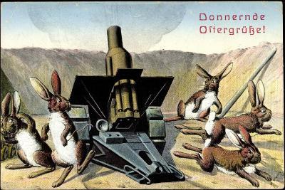 Künstler Frohe Ostern, Osterhasen Feuern Kanone--Giclee Print