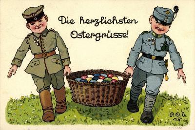 Künstler Frohe Ostern, Soldaten Tragen Ostereierkorb--Giclee Print