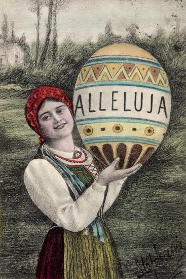 Künstler Glückwunsch Ostern, Alleluja, Frau, Tracht--Giclee Print