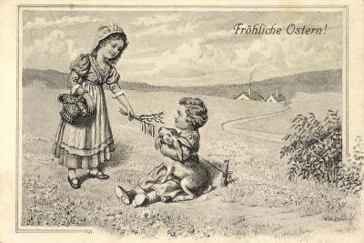 Künstler Glückwunsch Ostern, Kinder, Osterhase, Ort--Giclee Print