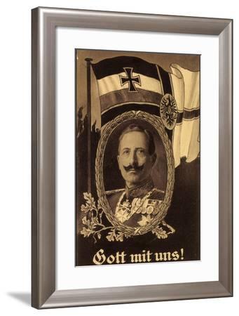 Künstler Gott Mit Uns, Kaiser Wilhelm II, Flagge--Framed Giclee Print