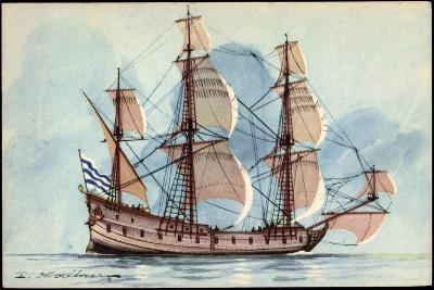 Künstler Haffner, L., Segelschiff, Flûte, 3 Master--Giclee Print