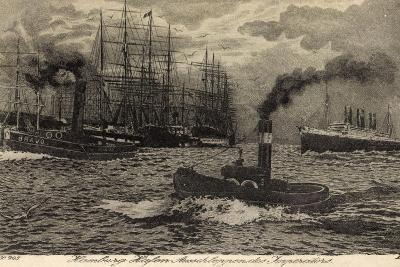 Künstler Hamburg, Dampfer Imperator, Hapag, Schlepper--Giclee Print