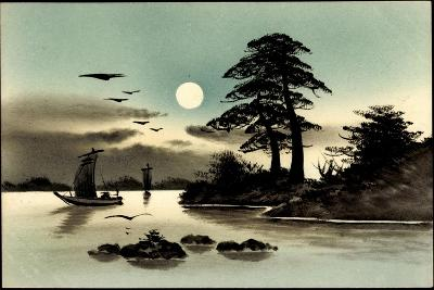 Künstler Handgemalt, Japan, Mond, Boot--Giclee Print