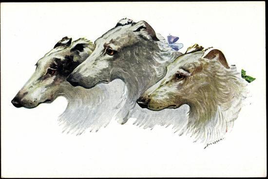 Künstler Jos. Gaber, Drei Windhunde, Schnauzen, Schleifen--Giclee Print