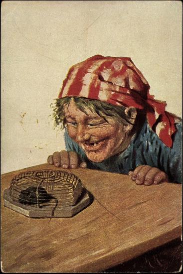 Künstler Kaulbach, Hermann, Maus in Der Falle, Bäuerin Freut Sich--Giclee Print
