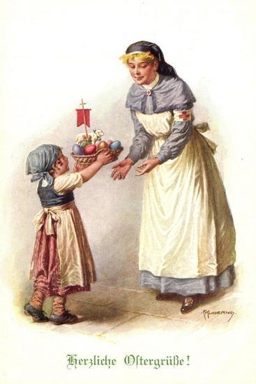 Künstler Kuderna F., Kind Bringt Schwester E. Korb--Giclee Print